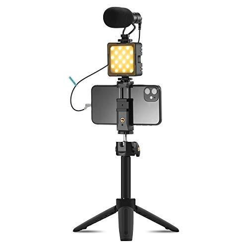 Smartphone Kamera Video Rig Kit, VK8 Shotgun Mikrofon mit Verstellbarem Stativ Telefonhalter Verlängerungsstange Kompatibel mit Telefon DSLR YouTube Vlog Interview Live Broadcast Meeting