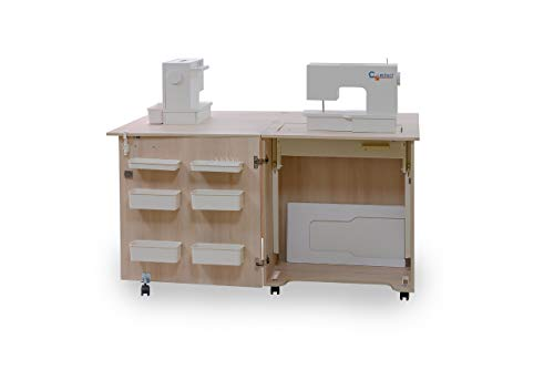 Comfort 1Q | Nähmaschinenschrank | Nähmöbel| Nähtisch | Aufbewahrungsschrank | (Oak Kendal Cognac, L (Air-lift 10 to 15 kg))