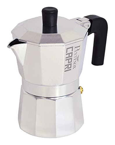 Pintinox Caffettiera Moka 1 Tazza Modello Capri in Alluminio, Manico Antiscottatura e Forme che Consentono una Perfetta Estrazione del Caffè, Notevole Risparmio Energetico