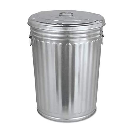 COLIBROX Pre-Galvanized Trash Can with Lid, Round, Steel, 20gal, Gray, Sold as 1 Each