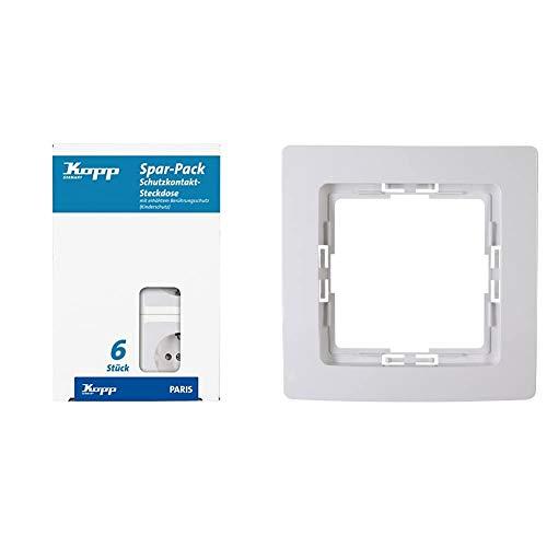 Kopp 920702011 Paris Profi-Pack: 6 Schutzkontakt-Steckdosen mit erhöhtem Berührungsschutz, 250 V, arktis, 6 Stück & 1-Fach Rahmen Paris, arktis
