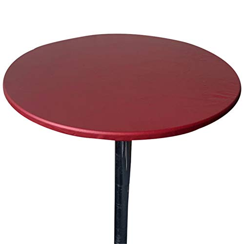 Aliuciku Tischdecke, rund, wasserdicht, ölabweisend, schmutzabweisend, geeignet für Küche, Restaurant, Garten, Café, Buffet, Rot, 60 cm