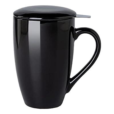 GBHOME Tea Mug with Infuser and Lid, 17 OZ Large Tea Strainer Cup with Tea Bag Holder for Loose Tea, Ceramic Tea Steeping Mug for Women/Men/Office/Home/Gift, Black