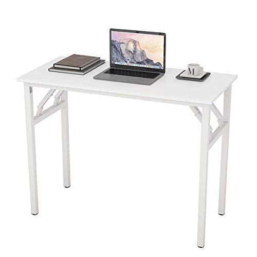 Recmaikon Folding Computer Desk Table Easy to Assemble Small Desk for Small Spaces Foldable Office Desk for Home Working 100cm*48cm*74cm