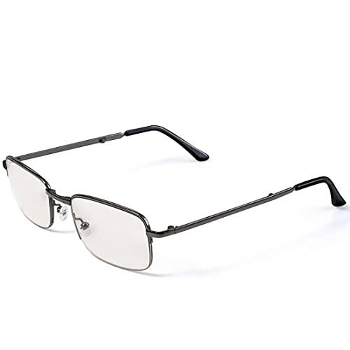 CEETOL老眼鏡 累進多焦点 遠近両用 折りたたみ 老眼鏡 携帯 リーディンググラス 軽量 コンパクト ブルーライトカット おしゃれ PCメガネ 男性 女性 シニアグラス 青色光カット 高級 フレーム ブランドメガネ ニッケル合金 (度数:+3.5)