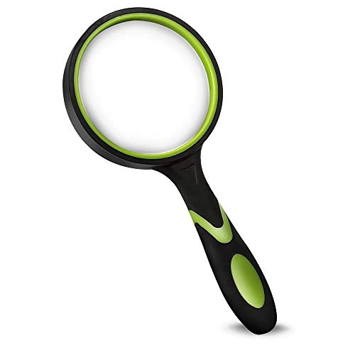 Wapodeai Shatterproof Magnifying Glass 4X Handheld Reading Magnifier for Seniors \& Kids, 75mm Large Magnifying Lens with Non-Slip Rubber Handle for Reading and Hobbies