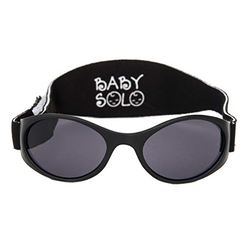 Baby Solo Original Baby Sunglasses Safe, Soft, Adorable Durable Case Included (0-36 Months, Matte Black Frame w/Solid Black Lens)