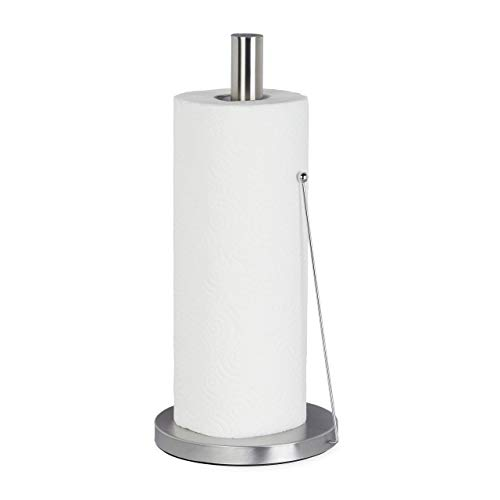 Relaxdays keukenrolhouder van roestvrij staal, design papierrolhouder staand, voor de keuken, HxD: 33 x 15 cm, zilver