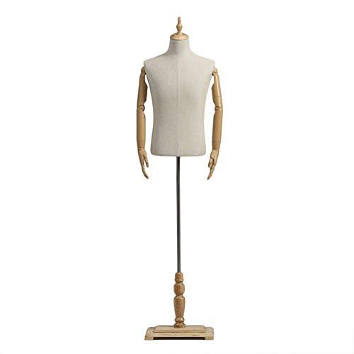 LLSS Maniquí Masculino Torso Cuerpo Vestido Forma Desfile de Moda, con Brazo de plástico Altura Ajustable Asiento Inferior de Madera Maciza, para Chalecos, Camisas, Trajes de
