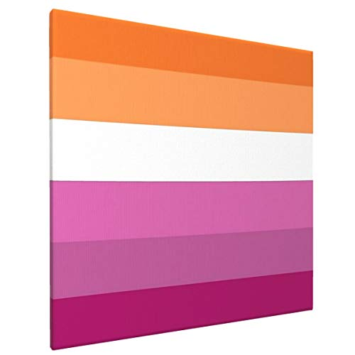 Orange - Magenta Lines Lesbian Pride Flag Butch Femme Pride Flag Canvas Wall Art Prints Pictures Home Decor Artwork Ready to Hang for Home Bedroom Living Room Wall Decoration 16x16