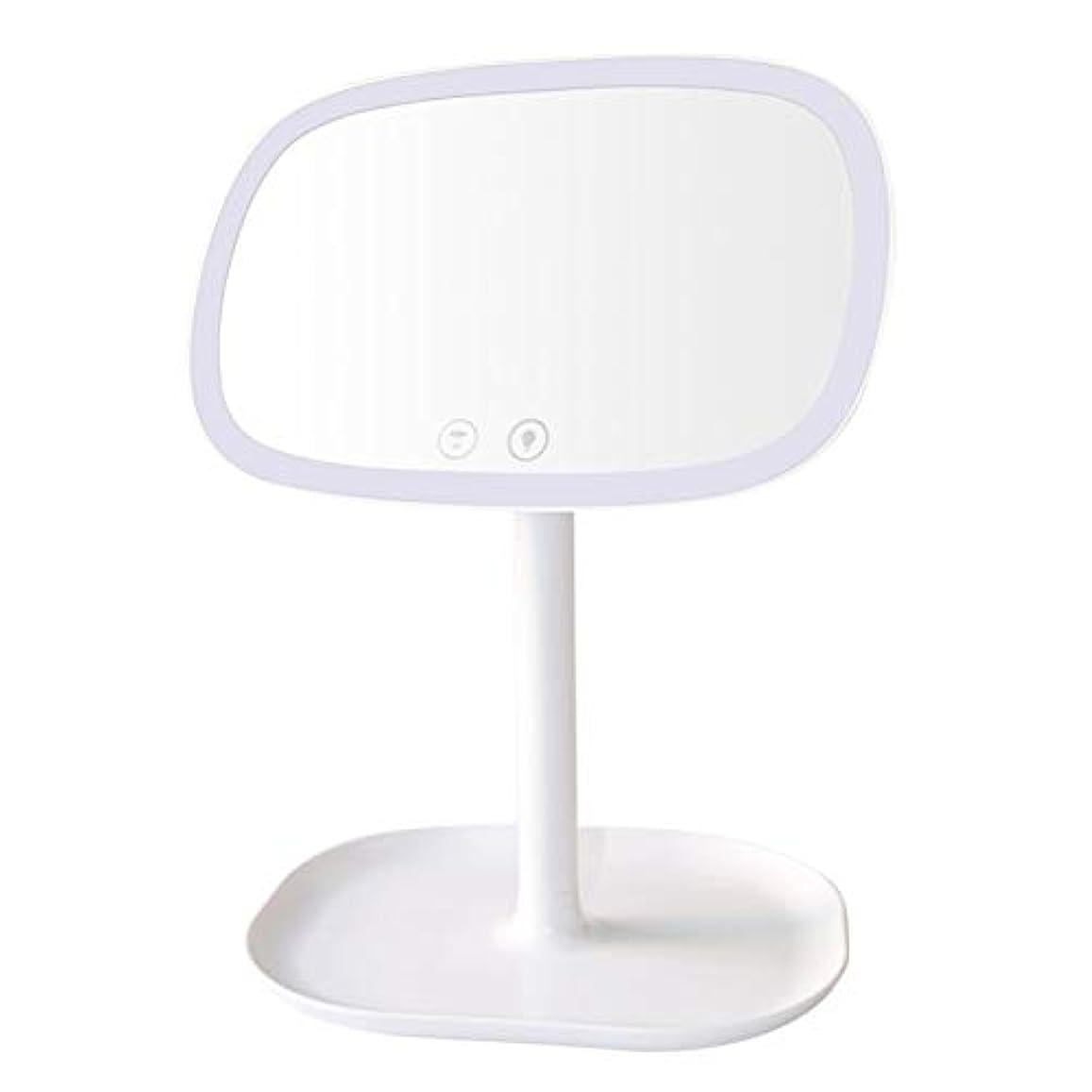 津波マニアック表面LEDメイクアップミラーUSB充電、10倍拡大鏡タッチスクリーンバニティスクエアデスクスタンド化粧鏡と360度回転可能