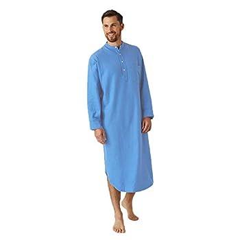 FUNEY Mens Kurta Henley Shirts Kaftan Robe V Neck Long Sleeve Light Plain Gown Pajama Casual Shirt for Beach Summer Blue