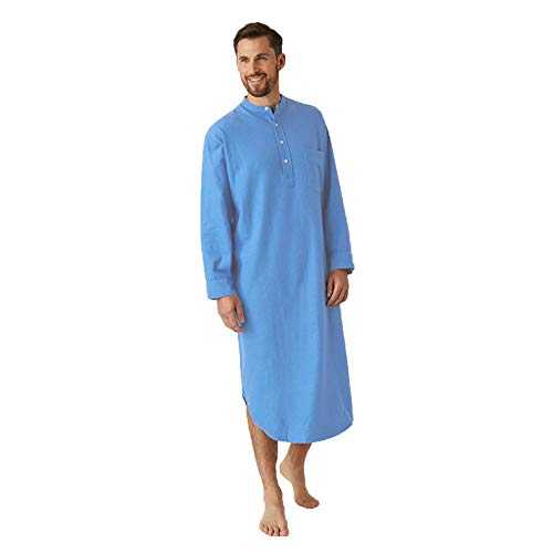 FUNEY Mens Kurta Henley Shirts Kaftan Robe V Neck Long Sleeve Light Plain Gown Pajama Casual Shirt for Beach, Summer Blue