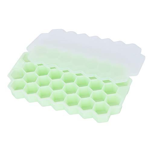 XINGSd - Bandeja de silicona para hielo con tapa, diseño de panal...