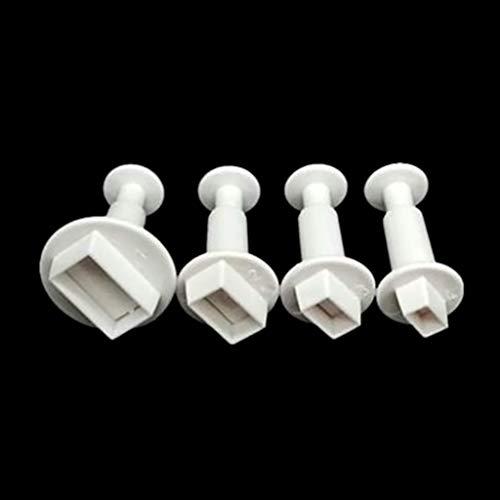 Runrain - Molde rectangular de plástico para tartas (4 unidades)