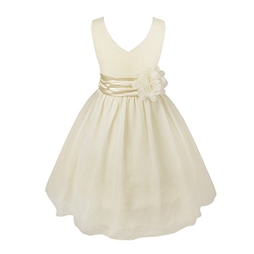 IEFIEL Vestido Fiesta Boda Niña Vestido Largo de Princesa con Flores Vestido Elegante de Dama de Honor Vestido Largo de Gasa para Cumpleaños Ceremonias
