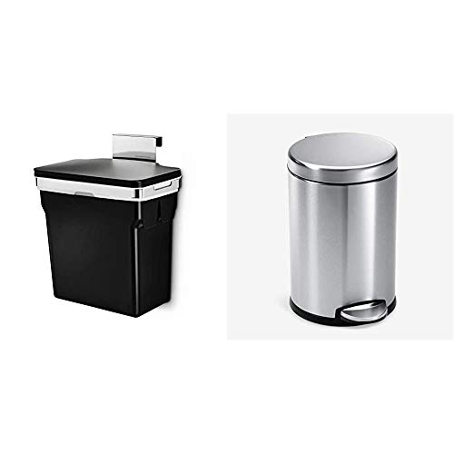 simplehuman 10 Liter / 2.6 Gallon in-Cabinet Trash Can Heavy-Duty Steel Frame, Black & Gallon Round Bathroom Step Trash Can, 4.5 Liter / 1.2 Gallon, Brushed Stainless Steel