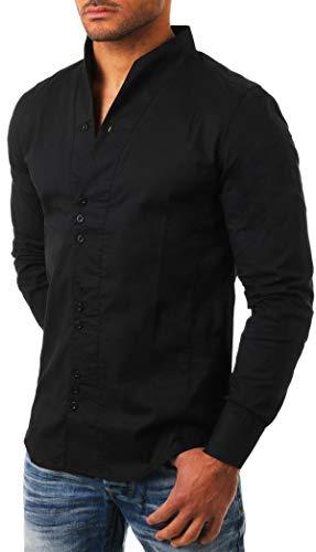 CARISMA Herren Uni Langarm Stehkragen Hemd Slimfit tailliert figurbetont Party Club Look Optik Freizeit Casual einfarbig Basic, Grösse:L, Farbe:Schwarz