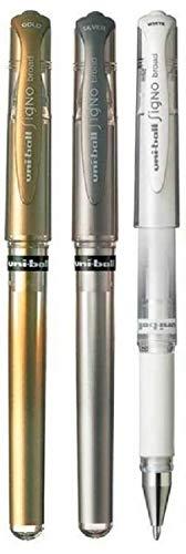 Uni Ball Lot stylo Signo Broad Couleurs Assorties métallique Stylo roller encre gel Pointe métal 1mm pointe Largeur de ligne 0,65mm avec grip en caoutchouc um-153or 1de chaque couleur–argent blanc–3Stylos)