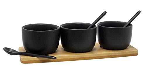 Food for Fun 7-teiliges Keramik Servier-Set Sauce Dip Marmelade Schale & Löffel in Schwarz mit Bambus Tablett