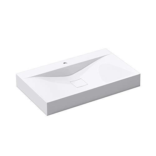 Waschbecken Col810 Hänge-Waschtisch Aufsatz-Waschschale Mineralguss Weiß 1 Armaturenloch recht-eckig Breite: 80 cm