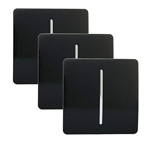 Trendi 1 Gang 2 vie Artistico Moderno Lucido 10 Amp Interruttore Luce Tattile Piano Nero (3 pezzi)