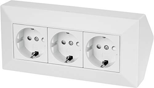 Regleta de 3 enchufes para esquina, 230 V, 16 A, 3600 W, color blanco mate