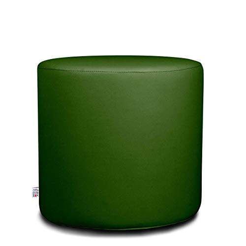 Arketicom Chill Pouf Poggiapiedi Rotondo Ecopelle Sfoderabile Puff Verde 35x35