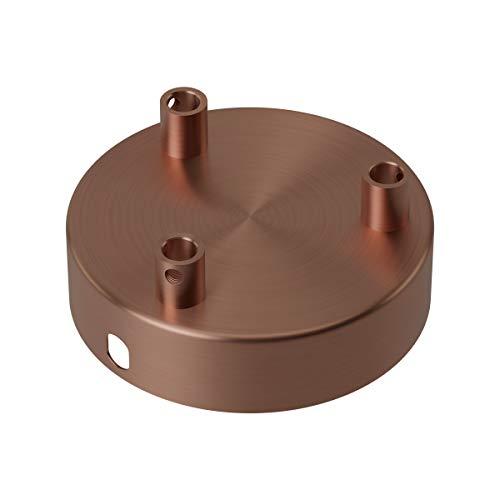 Calex Roseta de techo de metal de 3 orificios, 100 mm de diámetro, color cobre mate
