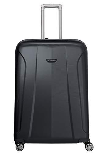 travelite 4-Rad Koffer Größe L mit TSA Schloss, Gepäck Serie ELBE: Widerstandsfähiger Hartschalen Trolley, 075549-20, 77 cm, 106 Liter, marine (blau)