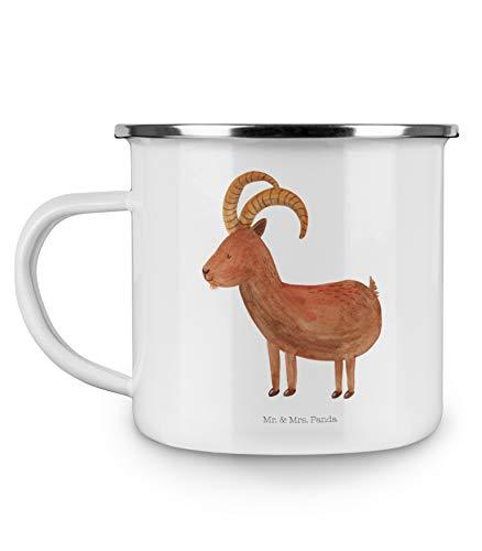 Mr. & Mrs. Panda Kaffeebecher, Kaffeetasse, Camping Emaille Tasse Sternzeichen Steinbock - Farbe Weiß