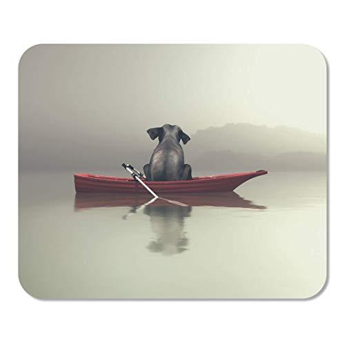 Mousepad Computer Notepad Büro Surrealer Elefant sitzt im roten Boot am nebligen Meer Dies ist 3D-Render Explore Water Home School Game Player Computer Worker Inch