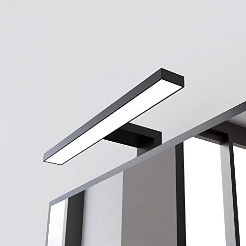 STARBATH PLUS – Lámpara Led espejo baño Silvia ABS 45 cm, LED, 5W, 570lm, IP44, 220V, 50-60Hz – 450x108x40mm – Luz blanca fría 6000K (Negro mate, 45 cm 5W)