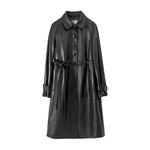 XYZMDJ Spring Soft Chaquetas Mujeres de Manga Larga con cordón de otoño Ropa for Mujer Negro Casual Cuche Abrigo (Color : Black, Size : XL)