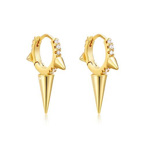 Pendientes de aro de oro con diamantes CZ geométricos triples cónicos rellenos de oro de 14 quilates pequeños bohemios playas, delicados, hechos a mano, hipoalergénicos, regalo de joyería