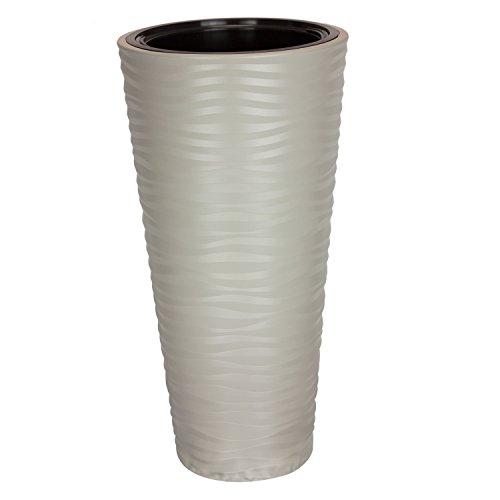 Pot de Fleur Sahara en Plastique Gris 78.5 cm ht avec bac Interne