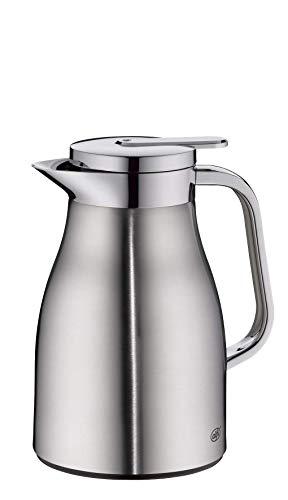 alfi Skyline, Thermoskanne Edelstahl mattiert 0,65l mit doppelwandigem alfiDur Vakuum-Hartglaseinsatz. Isolierkanne hält 12 Stunden heiß, ideal als Kaffeekanne oder als Teekanne - 1322.205.065
