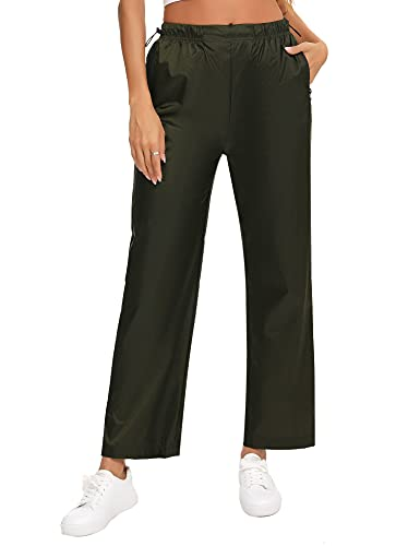 Irevial Pantalone Impermeabile Donna Pantaloni da Escursionismo Antivento Pantaloni Antipioggia Leggero Asciugatura Rapida con Tasche con Zip per attività All'apertola, Militare Verde, XXL