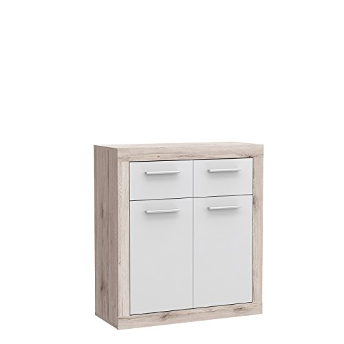 FORTE Baccio Kommode, Holz, sandeiche/weiß, 83.20 x 34 x 91.50 cm