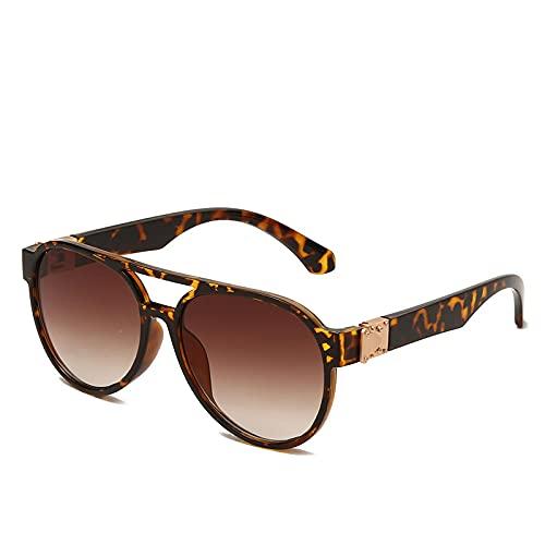 BANLV Gafas de Sol Europeas y Americanas, Hombres y Mujeres, Gafas de Aviador del Mismo Estilo, Gafas de Sol con Montura Redonda y Espejo Transparente
