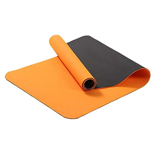 HYLL TPE Eco Friendly Friendly Yoga Mat & Free Tray Bag - Naranja/Negro - 183 cm x 61cm x 6mm de Grosor - Antideslizante - Yoga/Pilates/Entrenamiento/Inicio/Gimnasio