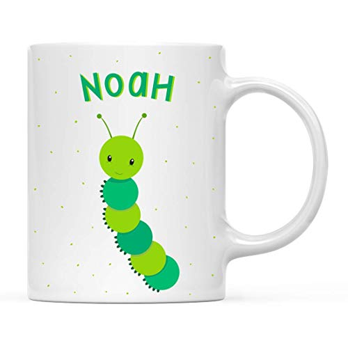 DKISEE Personalized Kids Milk Hot Chocolate Mug, Baby Earth Worm, 1-Pack, Custom Child's Birthday Christmas Coffee Cup 11oz