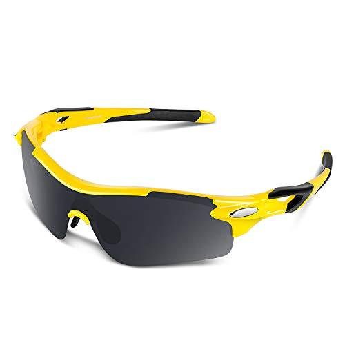Bea Cool Sportbrille Sonnenbrille Herren, Polarisierte Sport Brille mit UV400 Schutz TAC Sportsonnenbrille PC Rahmen für Radfahren, Laufen, Outdoor-Aktivitäten (Gelb-schwarz, Grau)