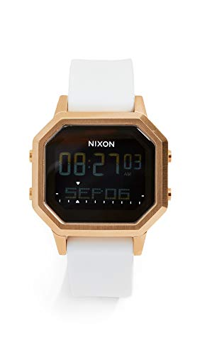 NIXON Siren SS A1211 - Gold/White - 100m Water Resistant Women's Digital Sport Watch (36mm Watch Face, 18mm-16mm Silicone Band)