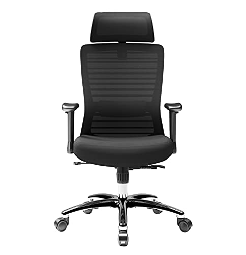 Novelland Ergonomic Office Chair Adjustable Office Chair Breathable Mesh Desk Chair Executive High Back Computer Office Chair with Adjustable Lumbar Support and 2D Armrest(Black)