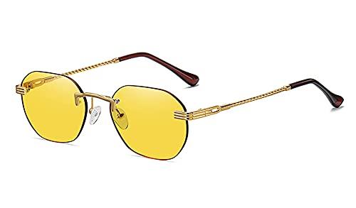 MINGQIMY Gafas de Sol Gafas de Sol de Damas de Damas de Metal de Oro sin marro marrón Lente Degradado de diamas Azules de la Moda Azul de Moda para Hombres UV400 Verano