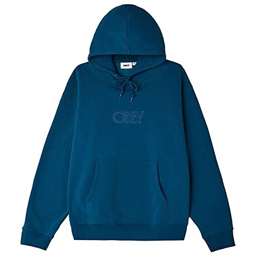 obey felpa OBEY - Felpa Cappuccio Logo Ricamato - Regal Speciality Fleece - Deep Ocean - (M)