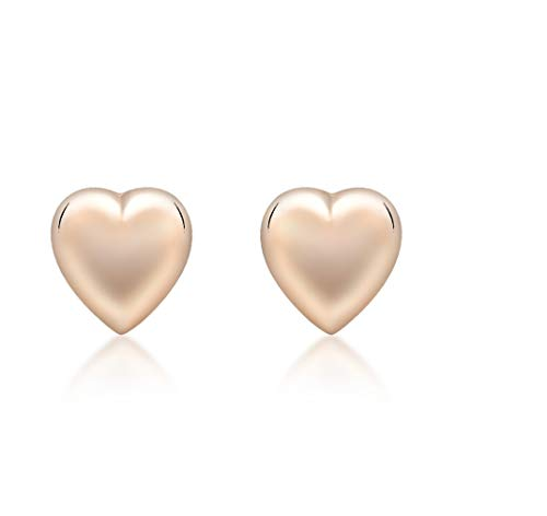 Carissima Gold 9 ct Rose Gold 6.9 x 7.2 mm Puffed Heart Stud Earrings