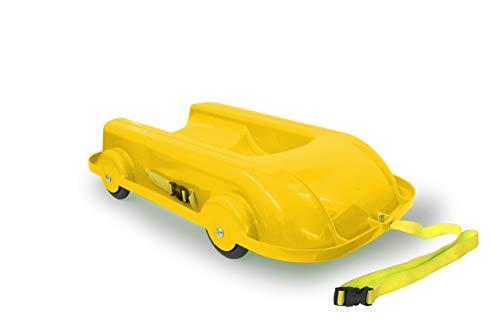 JAMARA 460505 Bob 2in1 Sommer/Winter gelb-2 in 1 Design mit kugelgelagerten Rädern ermöglicht Fahrspaß im Winter & Sommer, wendbare & Bequeme Sitzschale, aus robustem Kunststoff, Kipschutz
