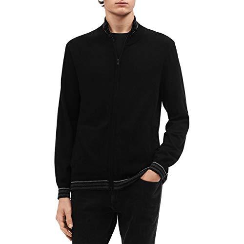 Calvin Klein Mens Big & Tall Striped Zip Up Sweater Black 2XL